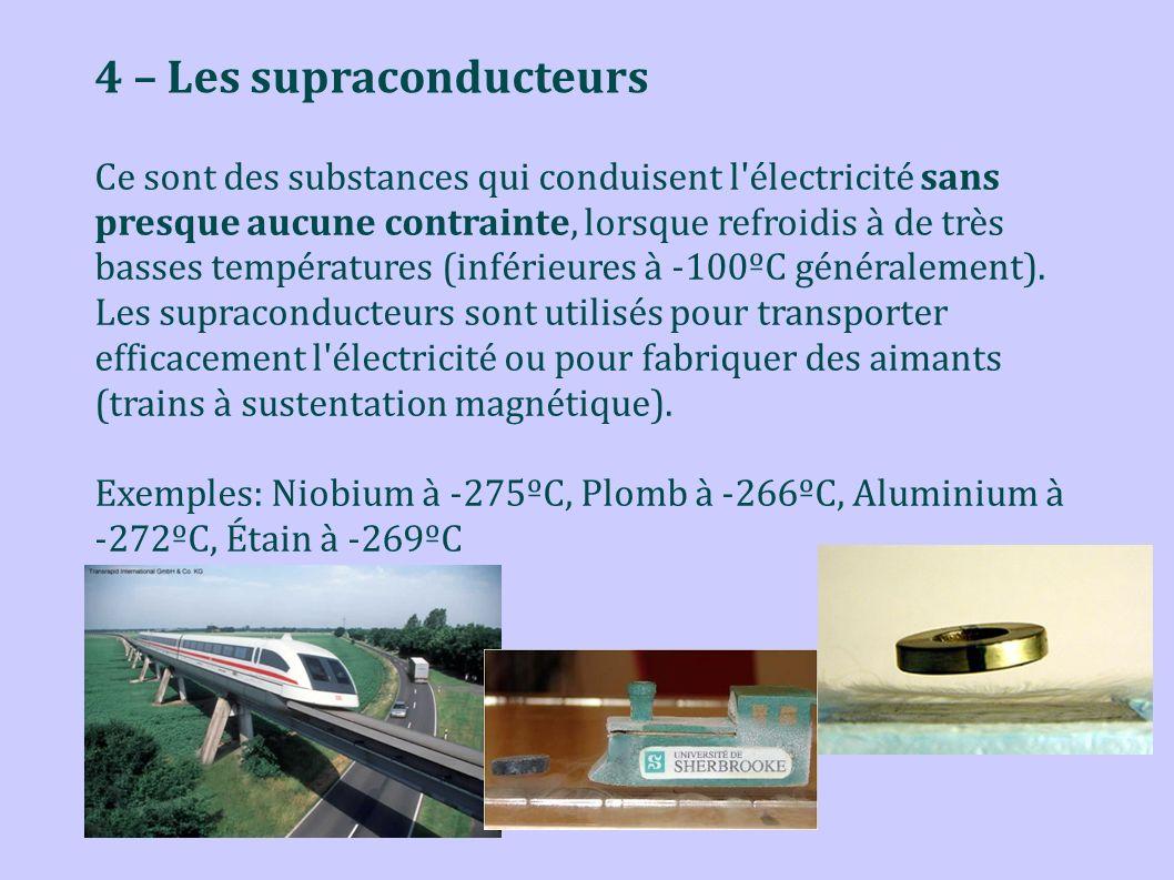 4 – Les supraconducteurs Ce sont des substances qui conduisent l'électricité sans presque aucune contrainte, lorsque refroidis à de très basses tempér