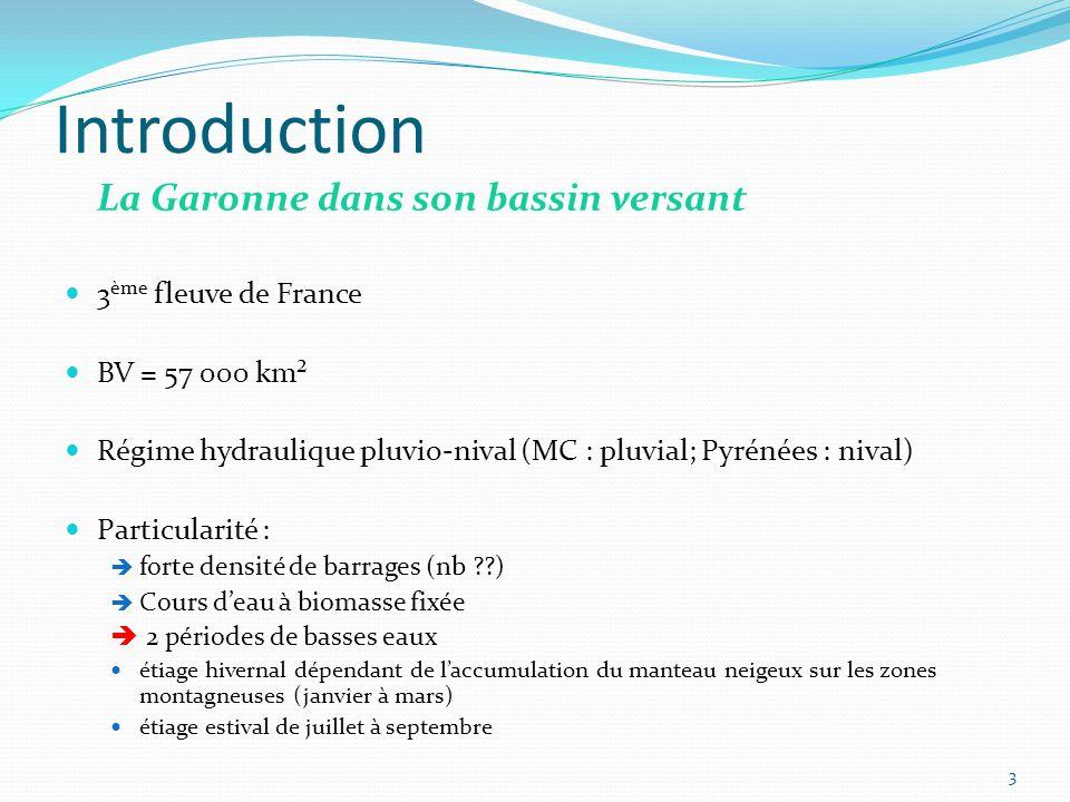 Introduction La Garonne dans son bassin versant 3 ème fleuve de France BV = 57 000 km² Régime hydraulique pluvio-nival (MC : pluvial; Pyrénées : nival) Particularité : forte densité de barrages (nb ??) Cours deau à biomasse fixée 2 périodes de basses eaux étiage hivernal dépendant de laccumulation du manteau neigeux sur les zones montagneuses (janvier à mars) étiage estival de juillet à septembre 3