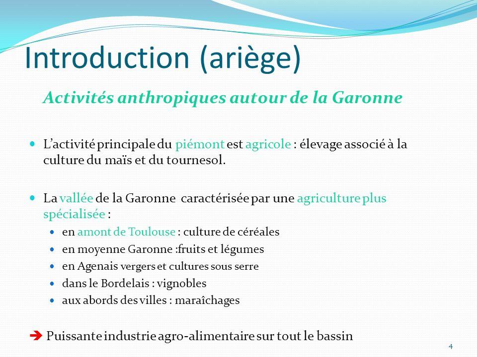 Introduction (ariège) Activités anthropiques autour de la Garonne Lactivité principale du piémont est agricole : élevage associé à la culture du maïs et du tournesol.