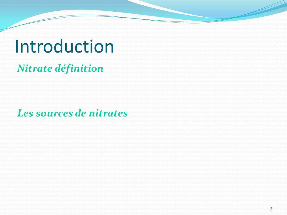 Introduction Nitrate définition Les sources de nitrates 5