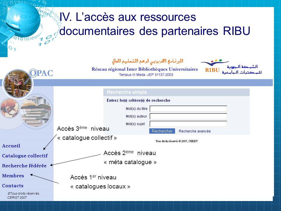 Accès 1 er niveau « catalogues locaux » Accès 2 ème niveau « méta catalogue » Accès 3 ème niveau « catalogue collectif » IV. Laccès aux ressources doc