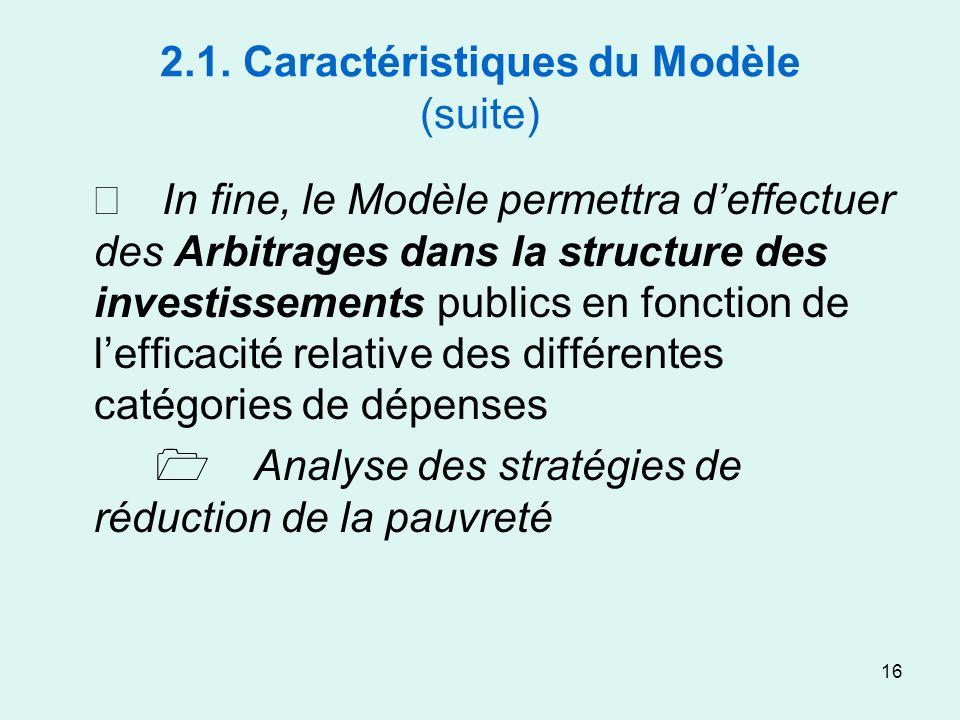16 2.1. Caractéristiques du Modèle (suite) In fine, le Modèle permettra deffectuer des Arbitrages dans la structure des investissements publics en fon