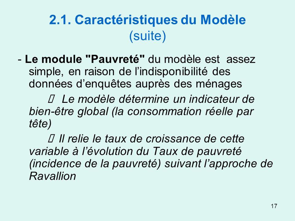 17 2.1. Caractéristiques du Modèle (suite) - Le module