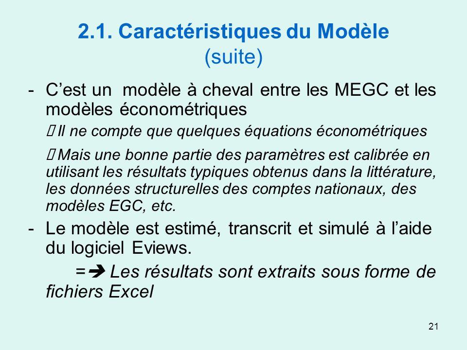 21 2.1. Caractéristiques du Modèle (suite) -Cest un modèle à cheval entre les MEGC et les modèles économétriques Il ne compte que quelques équations é