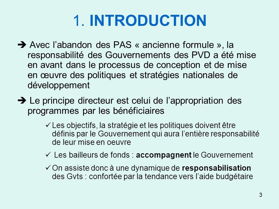 3 1. INTRODUCTION Avec labandon des PAS « ancienne formule », la responsabilité des Gouvernements des PVD a été mise en avant dans le processus de con