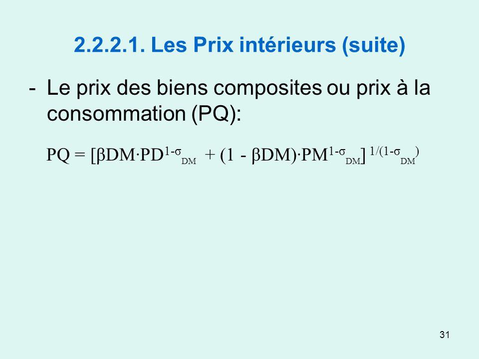 31 2.2.2.1. Les Prix intérieurs (suite) -Le prix des biens composites ou prix à la consommation (PQ): PQ = [βDM·PD 1-σ DM + (1 - βDM)·PM 1-σ DM ] 1/(1