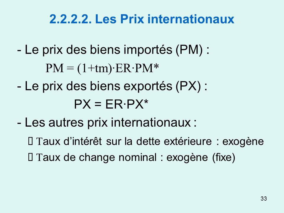 33 2.2.2.2. Les Prix internationaux - Le prix des biens importés (PM) : PM = (1+tm)·ER·PM* - Le prix des biens exportés (PX) : PX = ER·PX* - Les autre