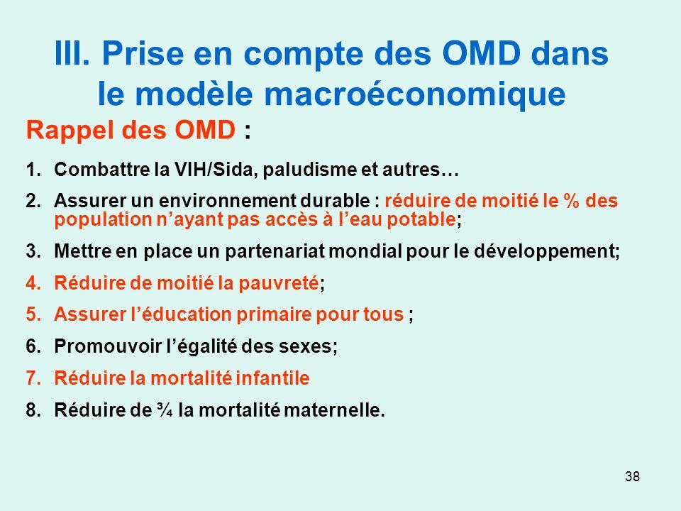 38 III. Prise en compte des OMD dans le modèle macroéconomique Rappel des OMD : 1.Combattre la VIH/Sida, paludisme et autres… 2.Assurer un environneme