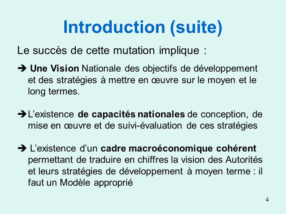 4 Introduction (suite) Le succès de cette mutation implique : Une Vision Nationale des objectifs de développement et des stratégies à mettre en œuvre