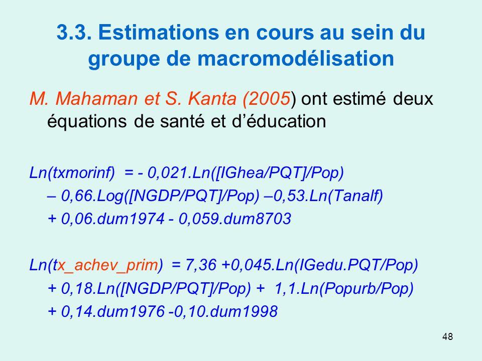 48 3.3. Estimations en cours au sein du groupe de macromodélisation M. Mahaman et S. Kanta (2005) ont estimé deux équations de santé et déducation Ln(