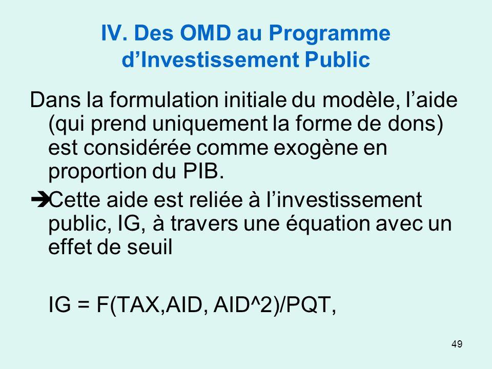 49 IV. Des OMD au Programme dInvestissement Public Dans la formulation initiale du modèle, laide (qui prend uniquement la forme de dons) est considéré