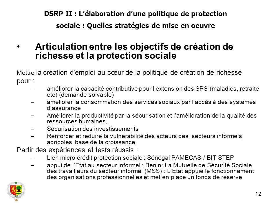 12 Articulation entre les objectifs de création de richesse et la protection sociale Mettre l a création demploi au cœur de la politique de création d