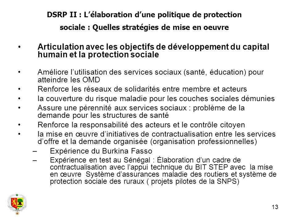 13 Articulation avec les objectifs de développement du capital humain et la protection sociale Améliore lutilisation des services sociaux (santé, éduc