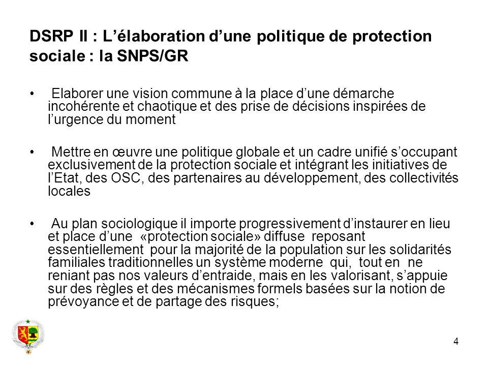 4 DSRP II : Lélaboration dune politique de protection sociale : la SNPS/GR Elaborer une vision commune à la place dune démarche incohérente et chaotiq