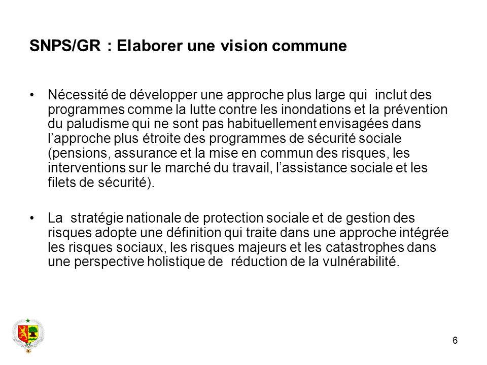 6 SNPS/GR : Elaborer une vision commune Nécessité de développer une approche plus large qui inclut des programmes comme la lutte contre les inondation