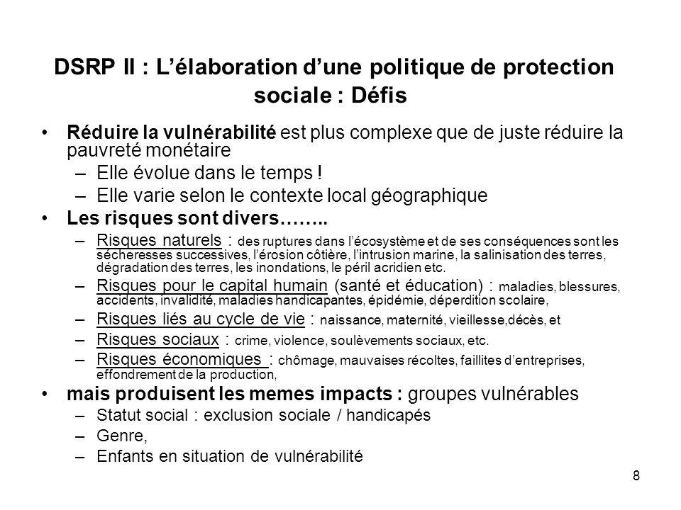 9 Les cycles vicieux entre ces risques accroissent encore cette vulnérabilité labsence de protection sociale est lun des principaux facteurs de maintien des pauvres dans un cercle vicieux et de création de nouveaux pauvres notamment pour les acteurs du secteur informel et constitue un frein à laccumulation du capital et à linvestissement La vulnérabilité est donc multisectorielle et doit etre traitée dans une approche systémique : DSRP II : Lélaboration dune politique de protection sociale : Défis