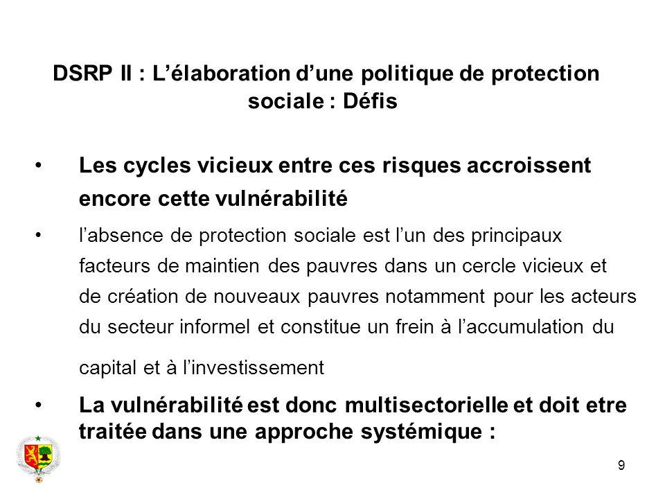 9 Les cycles vicieux entre ces risques accroissent encore cette vulnérabilité labsence de protection sociale est lun des principaux facteurs de mainti