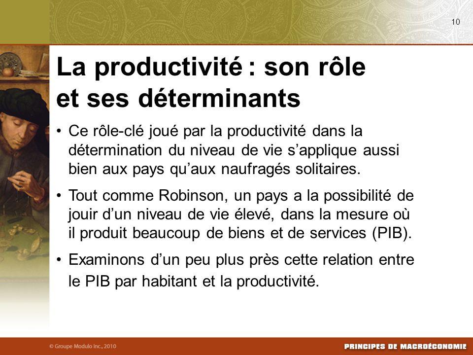 Ce rôle-clé joué par la productivité dans la détermination du niveau de vie sapplique aussi bien aux pays quaux naufragés solitaires. Tout comme Robin