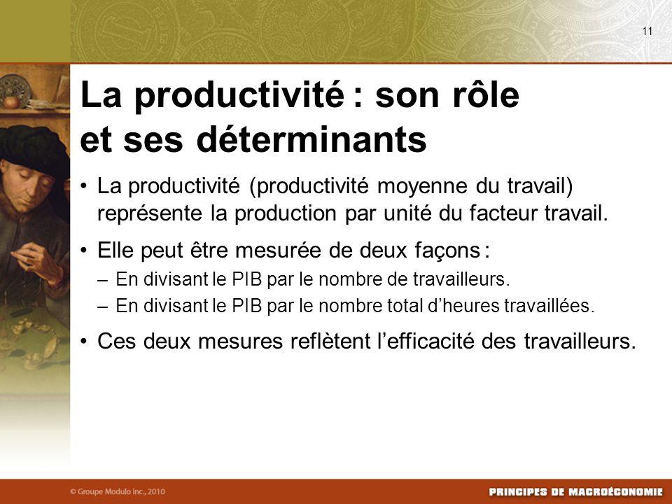 La productivité (productivité moyenne du travail) représente la production par unité du facteur travail. Elle peut être mesurée de deux façons : –En d