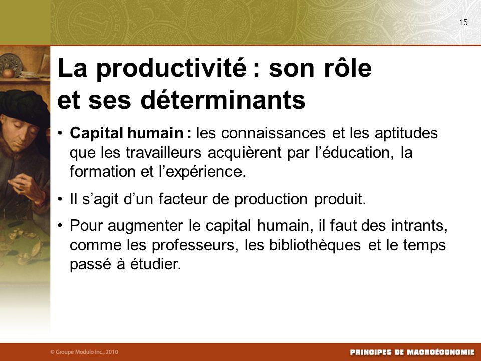 Capital humain : les connaissances et les aptitudes que les travailleurs acquièrent par léducation, la formation et lexpérience. Il sagit dun facteur