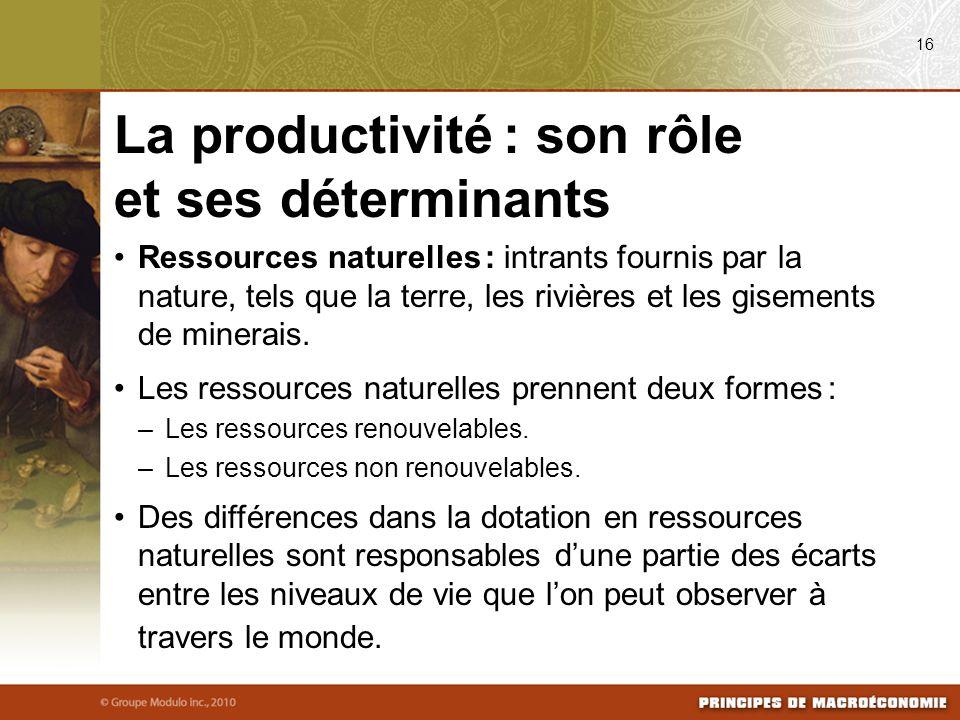 Ressources naturelles : intrants fournis par la nature, tels que la terre, les rivières et les gisements de minerais. Les ressources naturelles prenne