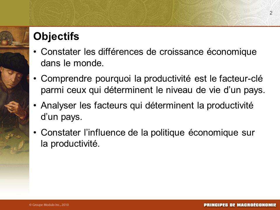 Constater les différences de croissance économique dans le monde. Comprendre pourquoi la productivité est le facteur-clé parmi ceux qui déterminent le