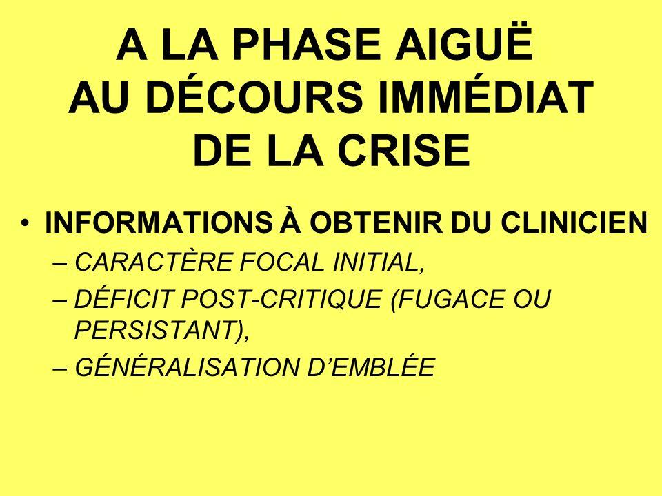 A LA PHASE AIGUË AU DÉCOURS IMMÉDIAT DE LA CRISE INFORMATIONS À OBTENIR DU CLINICIEN –CARACTÈRE FOCAL INITIAL, –DÉFICIT POST-CRITIQUE (FUGACE OU PERSISTANT), –GÉNÉRALISATION DEMBLÉE