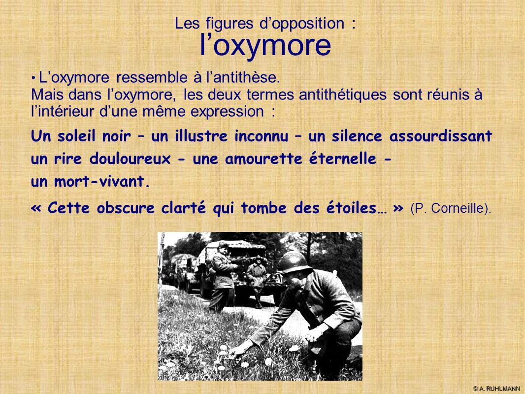 Les figures dopposition : loxymore Loxymore ressemble à lantithèse. Mais dans loxymore, les deux termes antithétiques sont réunis à lintérieur dune mê