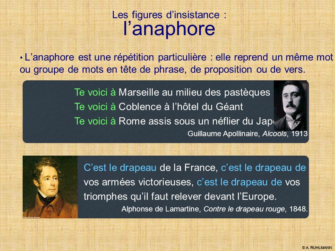 Les figures dinsistance : lanaphore Lanaphore est une répétition particulière : elle reprend un même mot ou groupe de mots en tête de phrase, de propo