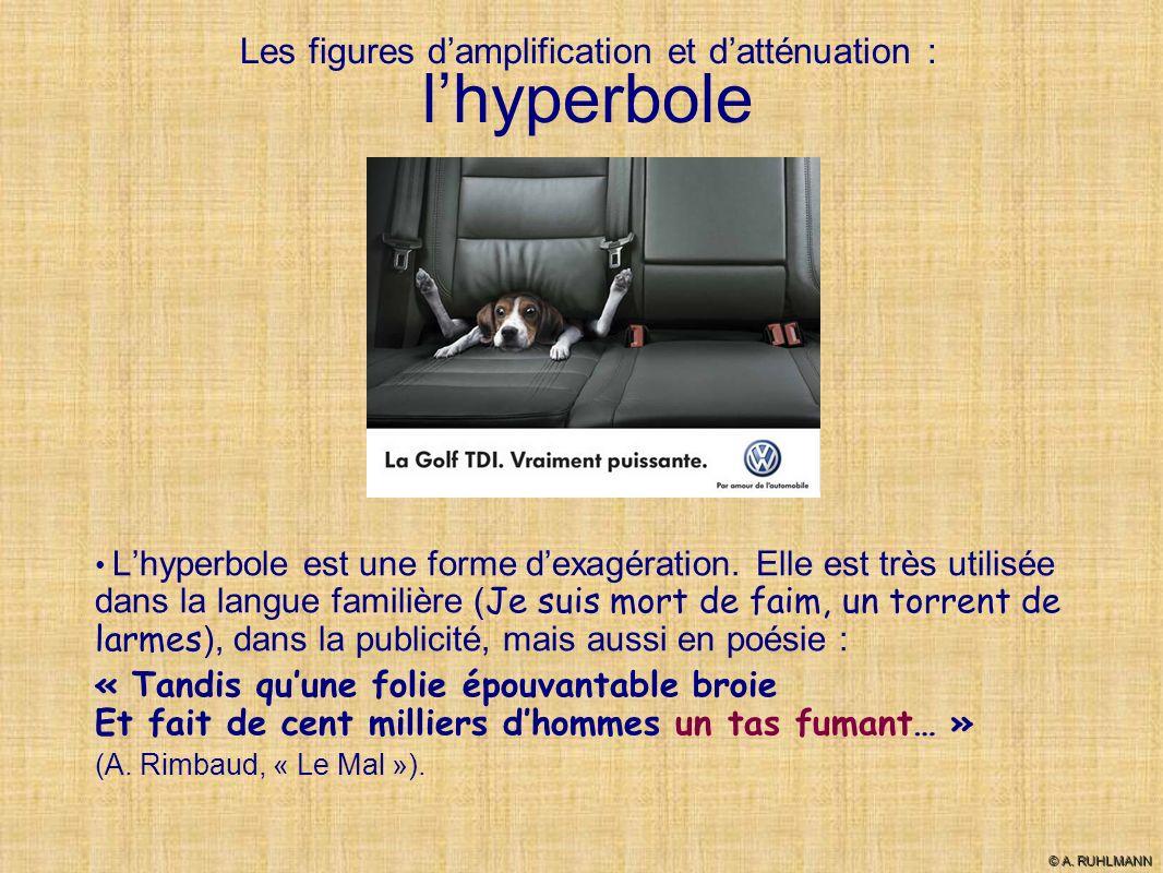 Les figures damplification et datténuation : lhyperbole Lhyperbole est une forme dexagération. Elle est très utilisée dans la langue familière ( Je su