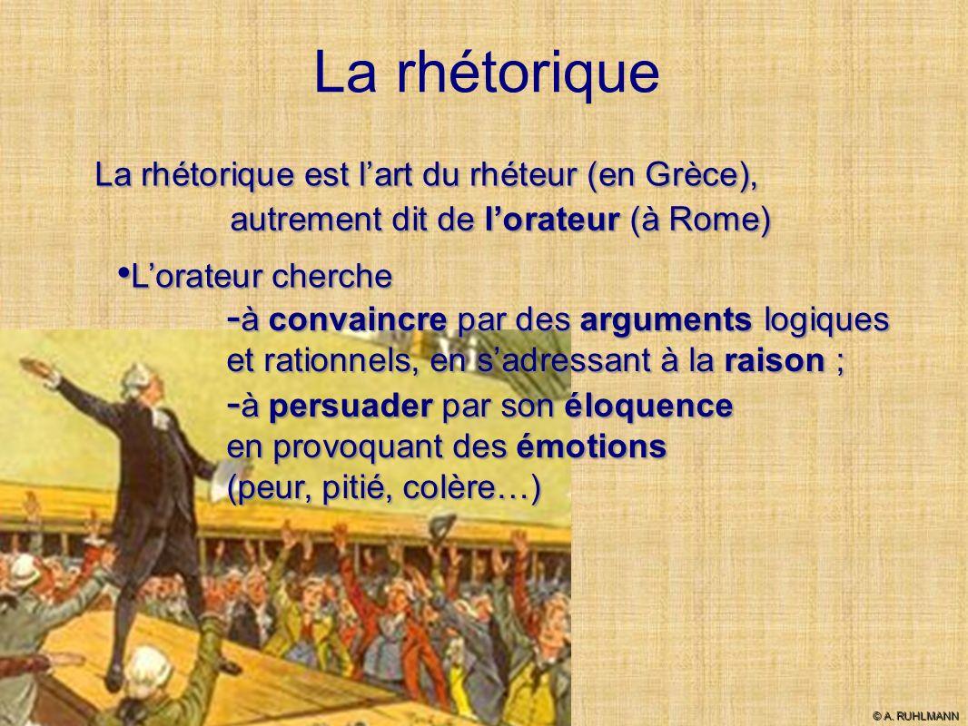 La rhétorique autrement dit de lorateur (à Rome) Lorateur cherche à convaincre par des arguments logiques et rationnels, en sadressant à la raison ; à