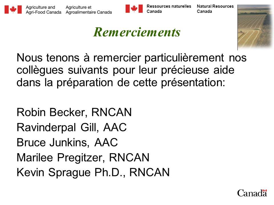 Natural Resources Canada Ressources naturelles Canada Remerciements Nous tenons à remercier particulièrement nos collègues suivants pour leur précieuse aide dans la préparation de cette présentation: Robin Becker, RNCAN Ravinderpal Gill, AAC Bruce Junkins, AAC Marilee Pregitzer, RNCAN Kevin Sprague Ph.D., RNCAN