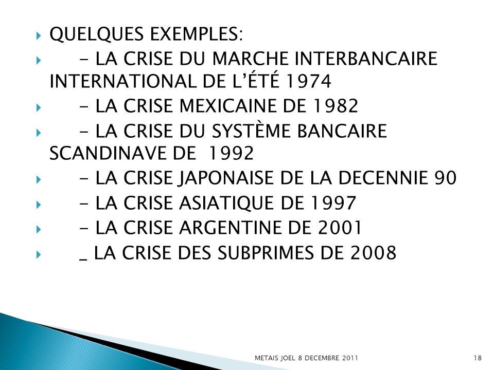 QUELQUES EXEMPLES: - LA CRISE DU MARCHE INTERBANCAIRE INTERNATIONAL DE LÉTÉ 1974 - LA CRISE MEXICAINE DE 1982 - LA CRISE DU SYSTÈME BANCAIRE SCANDINAV