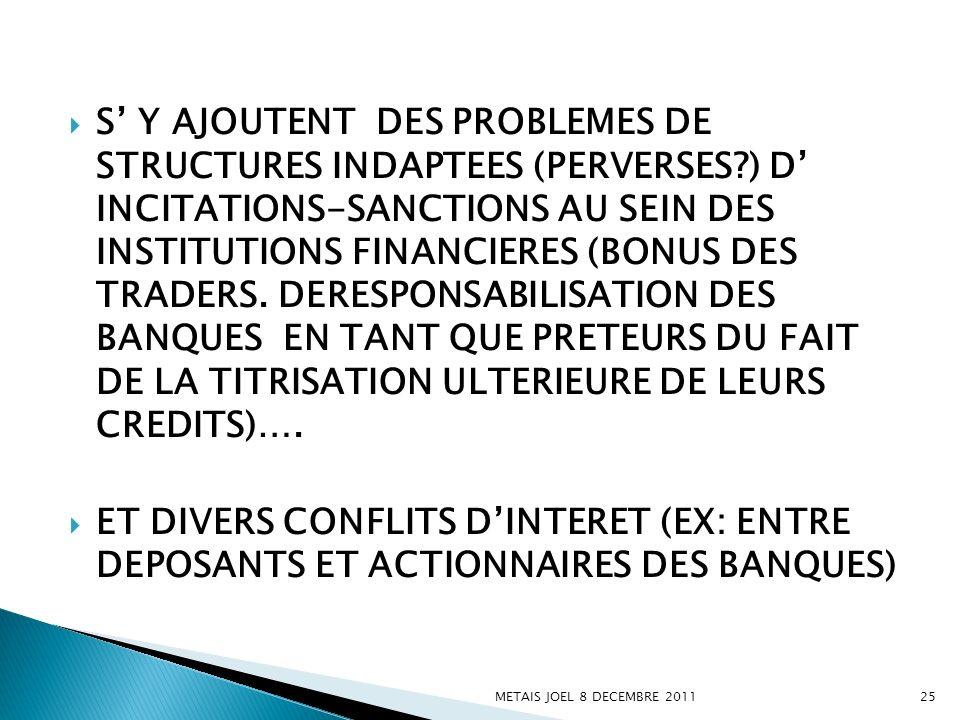 S Y AJOUTENT DES PROBLEMES DE STRUCTURES INDAPTEES (PERVERSES?) D INCITATIONS-SANCTIONS AU SEIN DES INSTITUTIONS FINANCIERES (BONUS DES TRADERS. DERES