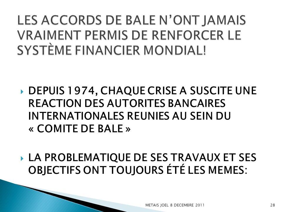DEPUIS 1974, CHAQUE CRISE A SUSCITE UNE REACTION DES AUTORITES BANCAIRES INTERNATIONALES REUNIES AU SEIN DU « COMITE DE BALE » LA PROBLEMATIQUE DE SES