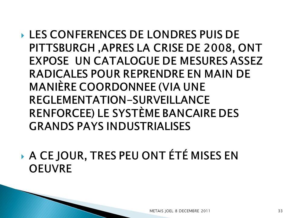 LES CONFERENCES DE LONDRES PUIS DE PITTSBURGH,APRES LA CRISE DE 2008, ONT EXPOSE UN CATALOGUE DE MESURES ASSEZ RADICALES POUR REPRENDRE EN MAIN DE MAN