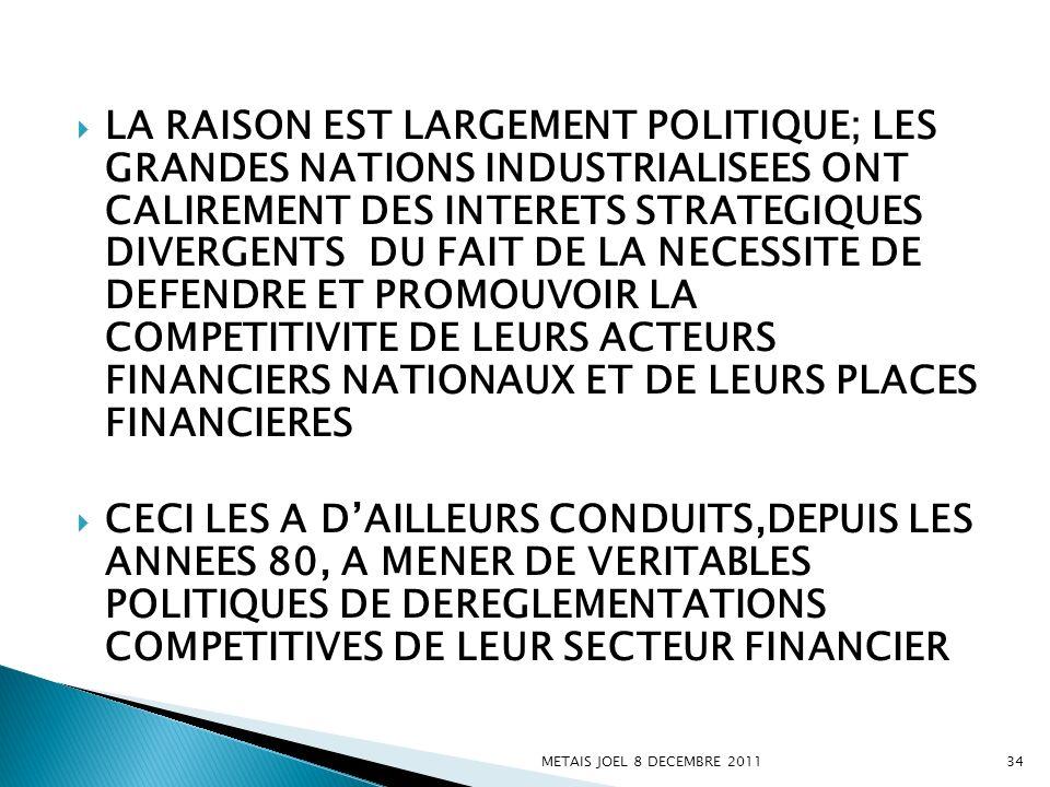 LA RAISON EST LARGEMENT POLITIQUE; LES GRANDES NATIONS INDUSTRIALISEES ONT CALIREMENT DES INTERETS STRATEGIQUES DIVERGENTS DU FAIT DE LA NECESSITE DE