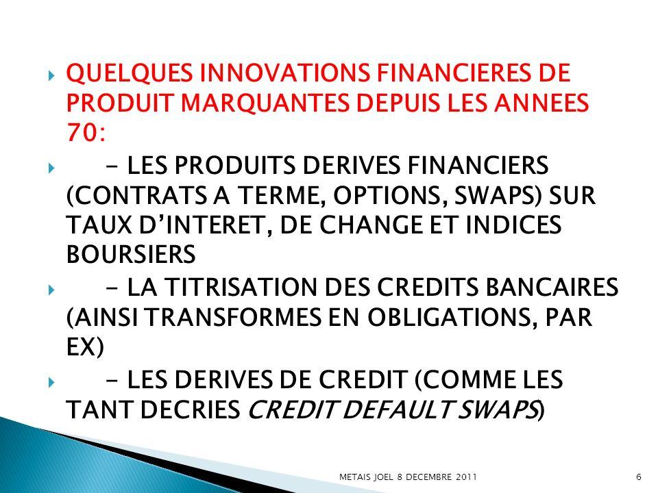 QUELQUES INNOVATIONS FINANCIERES DE PRODUIT MARQUANTES DEPUIS LES ANNEES 70: - LES PRODUITS DERIVES FINANCIERS (CONTRATS A TERME, OPTIONS, SWAPS) SUR