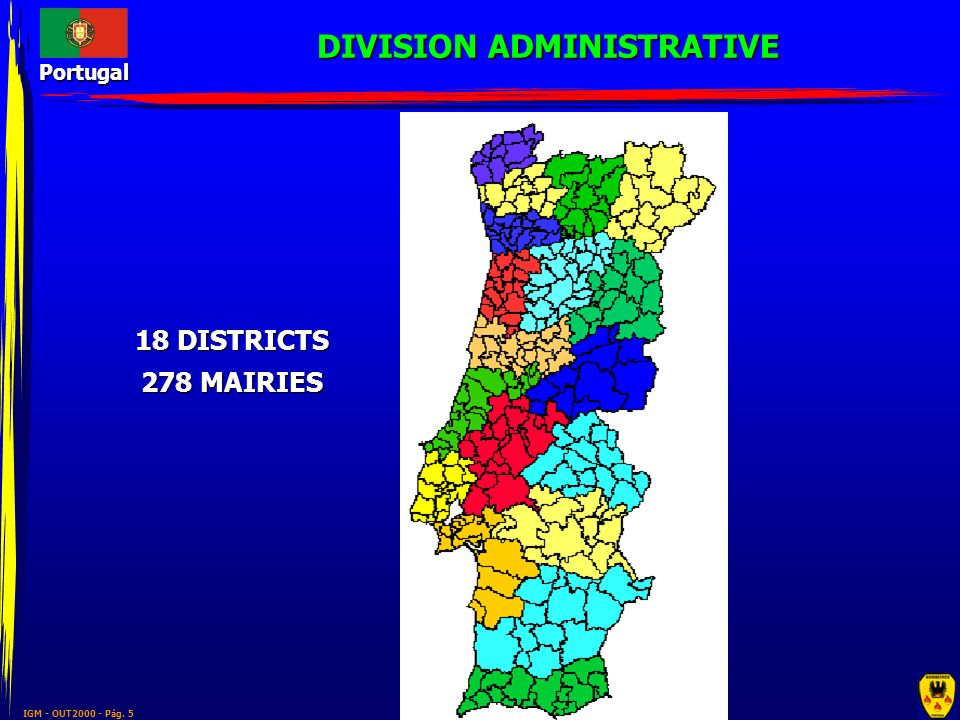 IGM - OUT2000 - Pág. 5 Portugal 18 DISTRICTS 278 MAIRIES DIVISION ADMINISTRATIVE