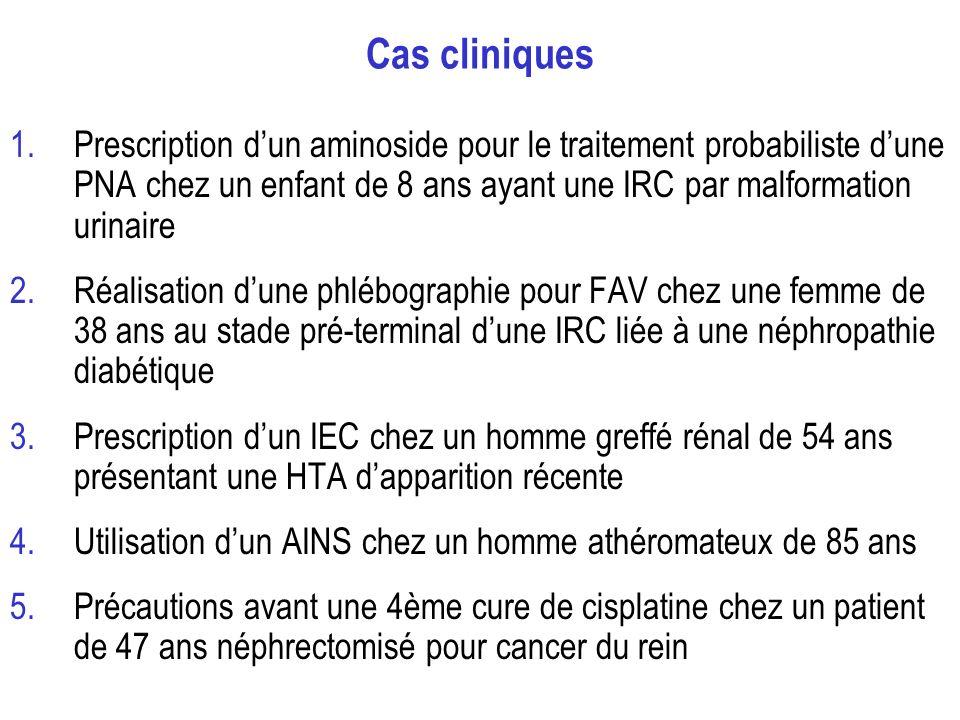 Cas cliniques 1.Prescription dun aminoside pour le traitement probabiliste dune PNA chez un enfant de 8 ans ayant une IRC par malformation urinaire 2.Réalisation dune phlébographie pour FAV chez une femme de 38 ans au stade pré-terminal dune IRC liée à une néphropathie diabétique 3.Prescription dun IEC chez un homme greffé rénal de 54 ans présentant une HTA dapparition récente 4.Utilisation dun AINS chez un homme athéromateux de 85 ans 5.Précautions avant une 4ème cure de cisplatine chez un patient de 47 ans néphrectomisé pour cancer du rein