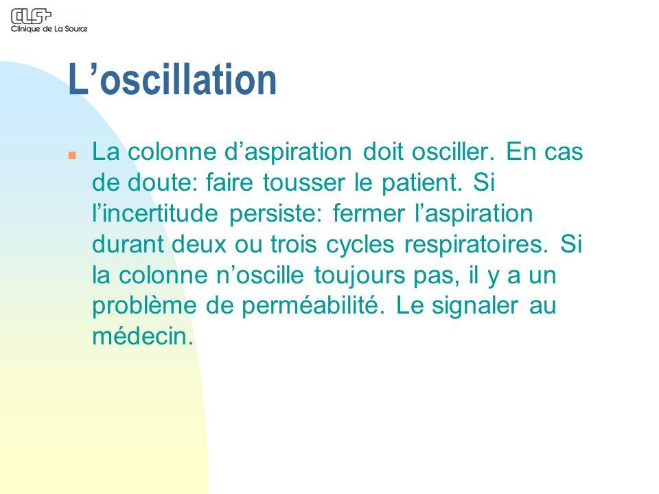 Loscillation n La colonne daspiration doit osciller. En cas de doute: faire tousser le patient. Si lincertitude persiste: fermer laspiration durant de