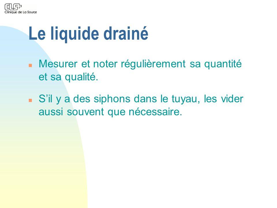 Le liquide drainé n Mesurer et noter régulièrement sa quantité et sa qualité. n Sil y a des siphons dans le tuyau, les vider aussi souvent que nécessa