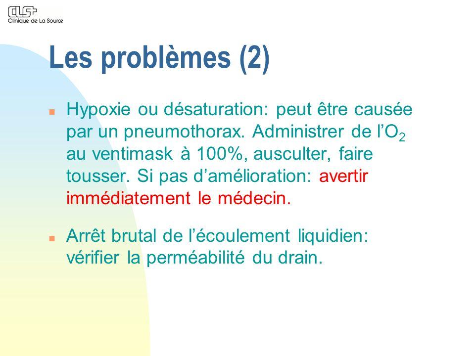 Les problèmes (2) n Hypoxie ou désaturation: peut être causée par un pneumothorax. Administrer de lO 2 au ventimask à 100%, ausculter, faire tousser.