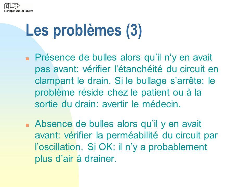 Les problèmes (3) n Présence de bulles alors quil ny en avait pas avant: vérifier létanchéité du circuit en clampant le drain. Si le bullage sarrête: