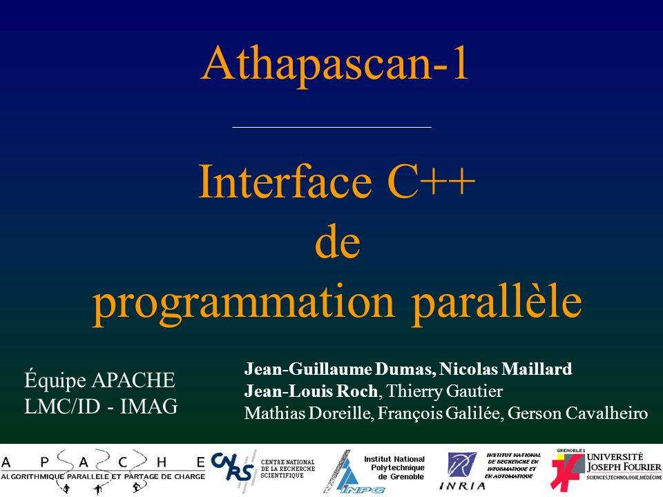 Programmation en Athapascan-1 Beaucoup dAthapascan-1 – Interface : Fork et Shared – un exemple de programme – accumulation, accès différé, ordre – format, initialisation, compilation, exécution
