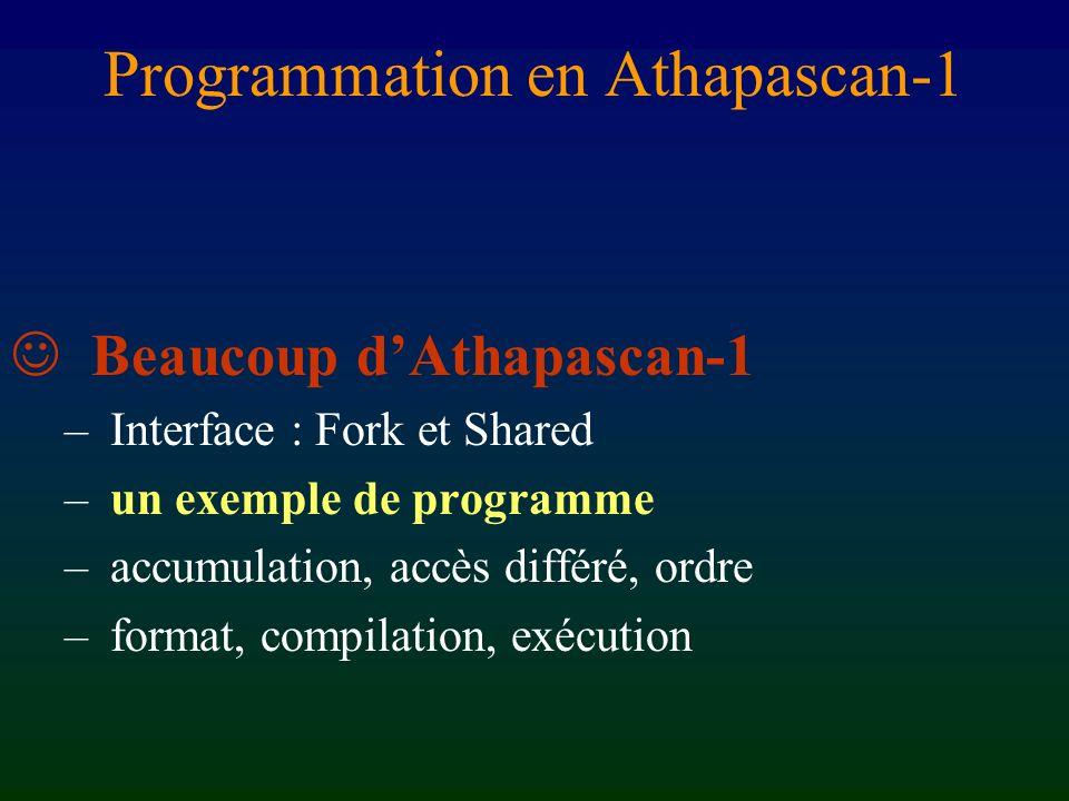 Sémantique séquentielle Toute lecture voit la dernière écriture selon lordre séquentiel shared A[n][n], B[n][n], C[n][n] ; … // Initialisations A, B et C for (int i=0; i () ( C[i][j], A[i][k], B[k][j] ) ; struct axpy_in { void operator() ( Shared_rw c, Shared_r a, Shared_r b ) { c.access() += a.read() * b.read() ; } };
