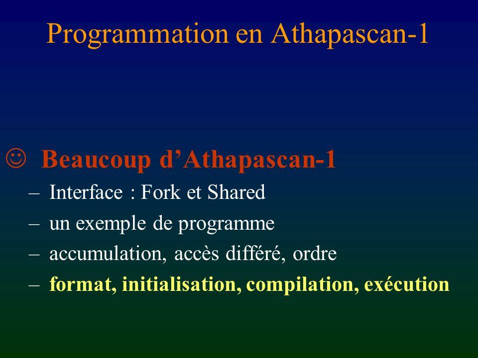 Justification des restrictions Détection du parallélisme + éviter les copies Restrictions sémantique naturelle sans perte de parallélisme Conséquence : ces 2 programmes Athapascan-1 sont équivalents struct { void operator () ( ) { stmts_1 ; Fork ()( ) ; stmts_2 ; Fork ()( ) ; stmts_3 ; } struct { void operator () ( ) { deque d ; stmts_1 ; push(d, ) ; stmts_2 ; push(d, ) ; stmts_3 ; Fork ()( pop(d) ); }
