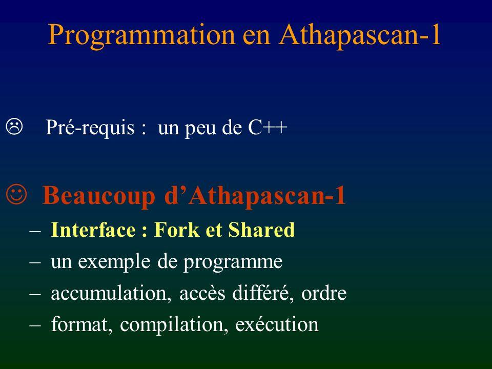Programmation en Athapascan-1 Pré-requis : un peu de C++ Beaucoup dAthapascan-1 – Interface : Fork et Shared – un exemple de programme – accumulation, accès différé, ordre – format, compilation, exécution