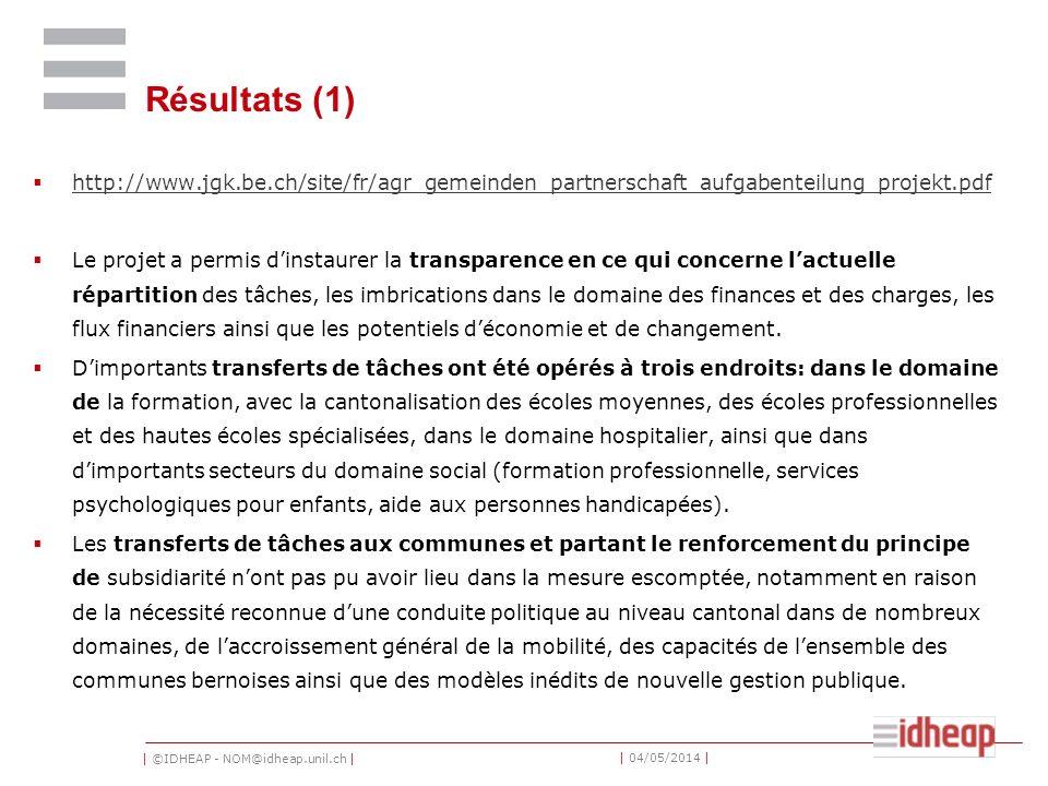 | ©IDHEAP - NOM@idheap.unil.ch | | 04/05/2014 | Résultats (1) http://www.jgk.be.ch/site/fr/agr_gemeinden_partnerschaft_aufgabenteilung_projekt.pdf Le projet a permis dinstaurer la transparence en ce qui concerne lactuelle répartition des tâches, les imbrications dans le domaine des finances et des charges, les flux financiers ainsi que les potentiels déconomie et de changement.