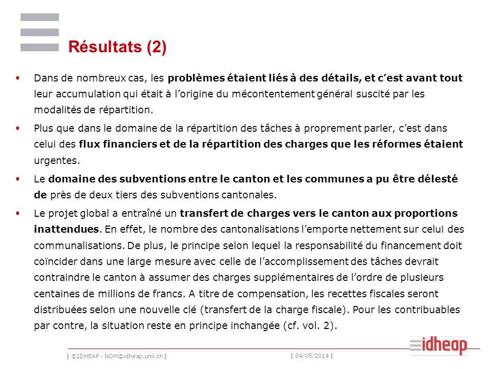 | ©IDHEAP - NOM@idheap.unil.ch | | 04/05/2014 | Résultats (3) Le projet a permis de poser les bases dune optimisation durable de la répartition des tâches (p.ex.